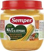 Semper - Био пюре от царевица и сладки картофи - Бурканче от 125 g за бебета над 4 месеца - продукт