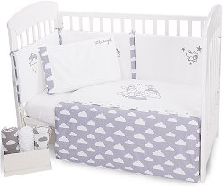 Бебешки спален комплект от 6 части - Little Angel - 100% ранфорс за легла с размери 60 x 120 cm или 70 x 140 cm -