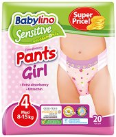 Babylino Sensitive Pants Girl - Maxi 4 - Гащички за еднократна употреба за бебета с тегло от 8 до 15 kg -