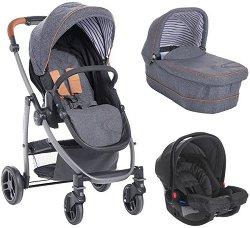 Бебешка количка 3 в 1 - Evo Avant: Breton Stripe - С 4 колела -