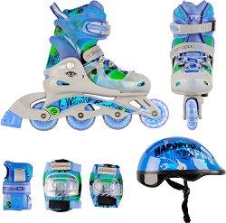 Детски ролери със светещи колелца - Torny - В комплект с протектори и каска -