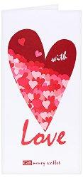 Поздравителна картичка с плик за пари или ваучери: With Love -