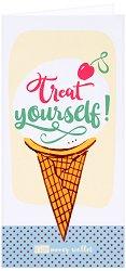 Поздравителна картичка с плик за пари или ваучери: Treat Yourself -
