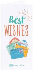 Поздравителна картичка с плик за пари или ваучери: Best Wishes -