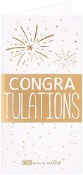 Поздравителна картичка с плик за пари или ваучери: Congratulations -