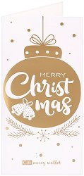 Поздравителна картичка с плик за пари или ваучери: Merry Christmas -