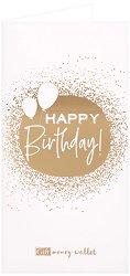 Поздравителна картичка с плик за пари или ваучери: Happy Birthday -