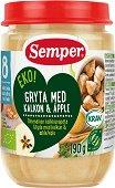 Semper - Био пюре от пуешка яхния с ябълка - Бурканче от 190 g за бебета над 8 месеца - пюре