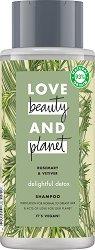 """Love Beauty and Planet Delightful Detox Shampoo - Детоксикиращ шампоан за нормална до мазна коса от серията """"Rosemary & Vetiver"""" - крем"""
