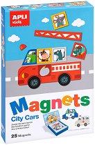 Автомобилите в града - Детски комплект за игра с магнити -