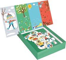Облечи децата според сезоните - Детски образователен комплект за игра с магнити - играчка