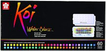 Акварелни бои - Studio Set - Палитра от 60 цвята и 2 четки с воден резервоар