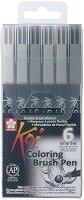 """Маркери с връх тип четка - Coloring Brush Pen - Комплект от 6 цвята от серията """"Koi"""""""