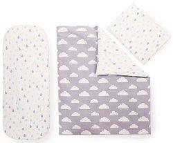 Спален комплект за бебешка количка - Clouds & Drops - От 6 части за матрак с размери 40 x 80 cm -