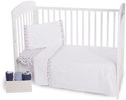 Спален комплект за бебешко креватче - Hearts - 3 част -