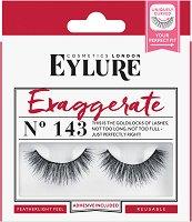 Eylure Exaggerate 143 - Мигли от естествен косъм в комплект с лепило -