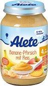 Alete - Био пюре от банан и праскова с ориз - Бурканче от 190 g за бебета над 4 месеца -
