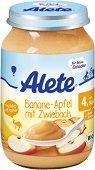 Alete - Био пюре от банан и ябълка със сухар - Бурканче от 190 g за бебета над 4 месеца - залъгалка