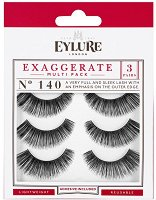 Eylure Exaggerate 140 - Комплект от 3 броя изкуствени мигли с лепило -