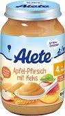 Alete - Био пюре от ябълка и праскова с бисквити - Бурканче от 190 g за бебета над 4 месеца - залъгалка