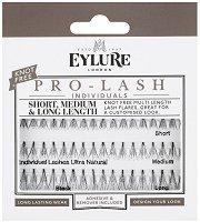 Eylure Pro-Lash Individuals Short, Medium & Long Length - Мигли от естествен косъм на снопчета в комплект с лепило и разтвор за премахване -