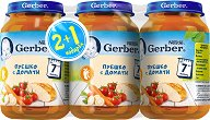 Nestle Gerber - Пюре от пуешко месо с домати - Бурканчета от 190 g за бебета над 7 месеца 2 + 1 подарък - пюре