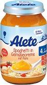 Alete - Био пюре от спагети със зеленчуци в сметана и пуешко месо - Бурканче от 190 g за бебета над 4 месеца - пюре