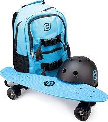 Скейтборд с каска и раница - играчка