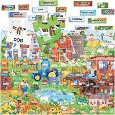 Моите първи 100 английски думи - Ферма - Детски образователен двустранен пъзел -