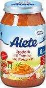 Alete - Био пюре от спагети с домати и моцарела - Бурканче от 220 g за бебета над 8 месеца -