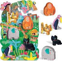 """В джунглата - Пъзел и 5 дървени фигурки : От серия """"Headu: Метода Монтесори"""" - пъзел"""