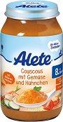 Alete - Пюре от кускус със зеленчуци и пилешко месо - Бурканче от 220 g за бебета над 8 месеца -