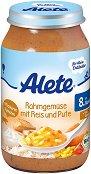 Alete - Био пюре от зеленчуци с ориз, сметана и пуешко месо - Бурканче от 220 g за бебета над 8 месеца -