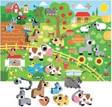 """Веселата ферма - Пъзел и 8 дървени фигурки : От серия """"Headu: Методът Монтесори"""" -"""