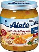 Alete - Био пюре от микс зеленчуци с картофи и пилешко месо - Бурканче от 250 g за бебета над 12 месеца - пюре
