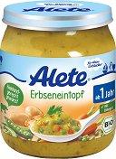 Alete - Био пюре от грахова яхния с шунка - Бурканче от 250 g за бебета над 12 месеца - пюре