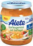 Alete - Пюре от градински зеленчуци с птиче месо - Бурканче от 250 g за бебета над 12 месеца - залъгалка