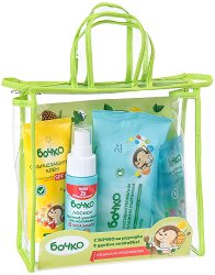 Комплект за разходки - Бочко - Слънцезащитен крем, лосион против ухапване от насекоми, антибактериален гел за ръце и антибактериални влажни кърпички - детски аксесоар