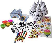 Оцвети сам - Аксесоари за рожден ден - Творчески комплект за 5 деца - играчка