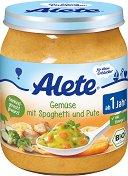 Alete - Био пюре от зеленчуци със спагети и пуешко месо - Бурканче от 250 g за бебета над 12 месеца -