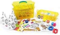 Творчески комплект в куфарче  - 365 занимания - Комплект за рисуване, моделиране, изрязване и оцветяване -