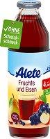 Alete - Плодов сок със съдържание на желязо - Шише от 750 ml за бебета над 4 месеца -