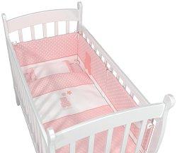 Спален комплект за бебешко креватче - My Little Bear - Комплект от 5 части за матрак с размери 50 x 80 cm -