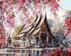 Рисуване по номера - Есен в Тайланд - Комплект за картина с размери 40 x 50 cm
