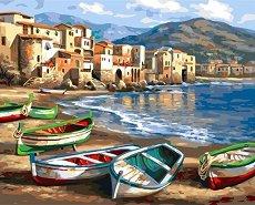 Рисуване по номера - Рибарски лодки - Комплект за картина с размери 40 x 50 cm