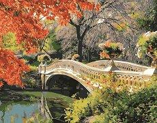 Рисуване по номера - Мост над реката - Комплект за картина с размери 40 x 50 cm