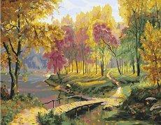 Рисуване по номера - Есен в парка - Комплект за картина с размери 40 x 50 cm
