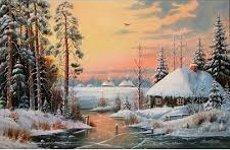 Рисуване по номера - Зима край реката - Комплект за картина с размери 40 x 50 cm