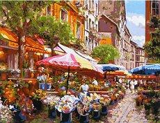 Рисуване по номера - Пазарен ден - Комплект за картина с размери 40 x 50 cm