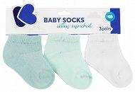 Бебешки памучни чорапи - Solid Navi - Комплект от 3 чифта -